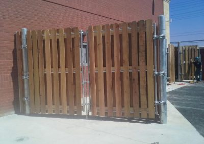 Board on Board Wood Dumpster Enclosure with Galvanized Steel Frame