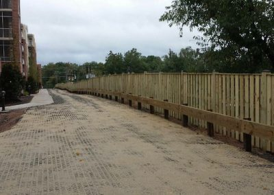 6' Board on Board Perimeter Fence with Wood Guard Rail