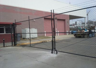 Chain Link Gate with Barbed Wire & Wheels