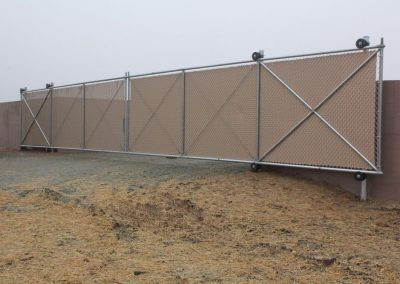 30' Wide Double Slide Gate with Privacy Slats