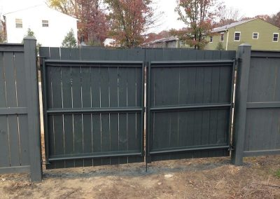 6' Solid Board Steel Frame Double Gate