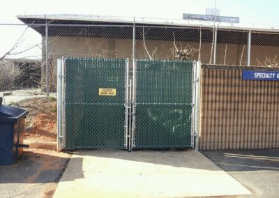 6' Chain Link Gate with Green Privacy Slats